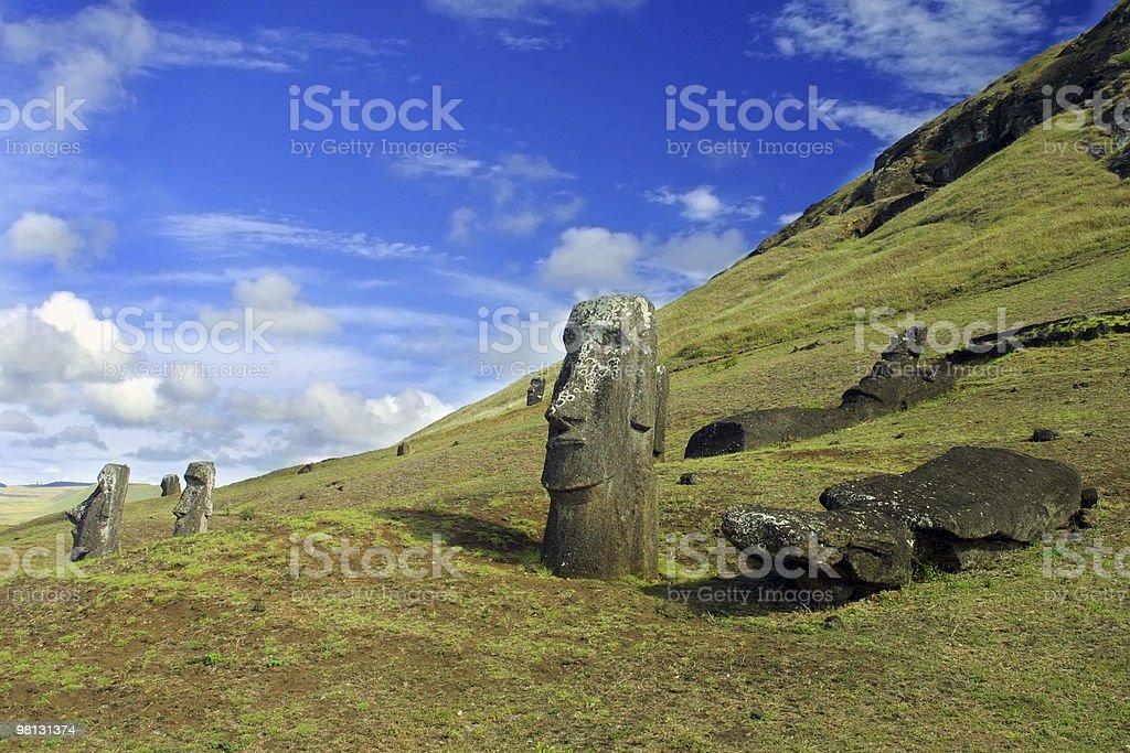 Isola di Pasqua Moai esistente foto stock royalty-free