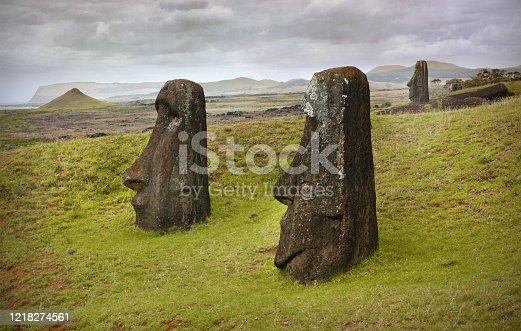 Easter Island statues Easter Island, a Chilean territory, is a remote volcanic island in Polynesia. Its native name is Rapa Nui. It's famed for archaeological sites, including nearly 900 monumental statues called moai, created by inhabitants during the 13th–16th centuries.