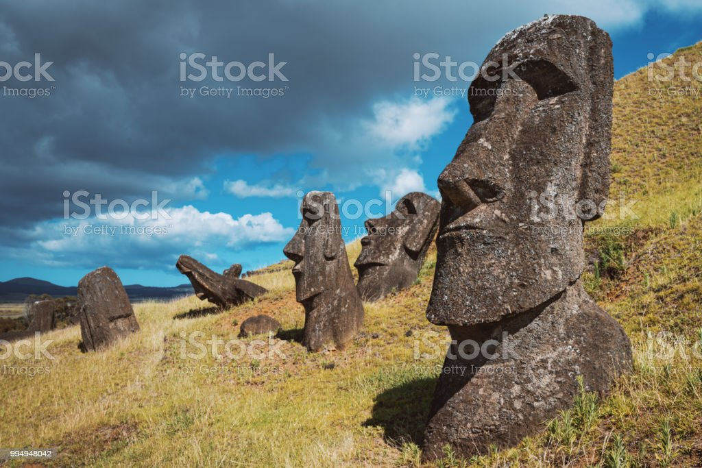 Easter Island Rano Raraku Moai Statues Rapa Nui Chile - Royalty-free Ancient Civilization Stock Photo