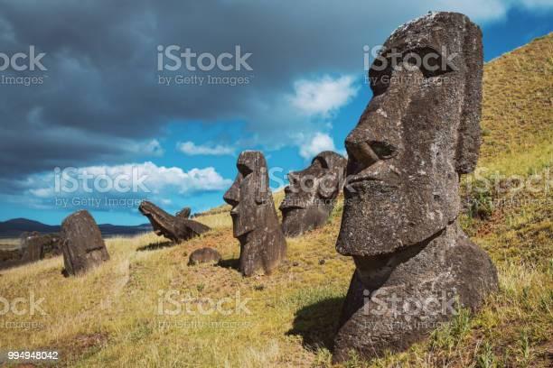 Easter Island Rano Raraku Moai Statues Rapa Nui Chile Stock Photo - Download Image Now
