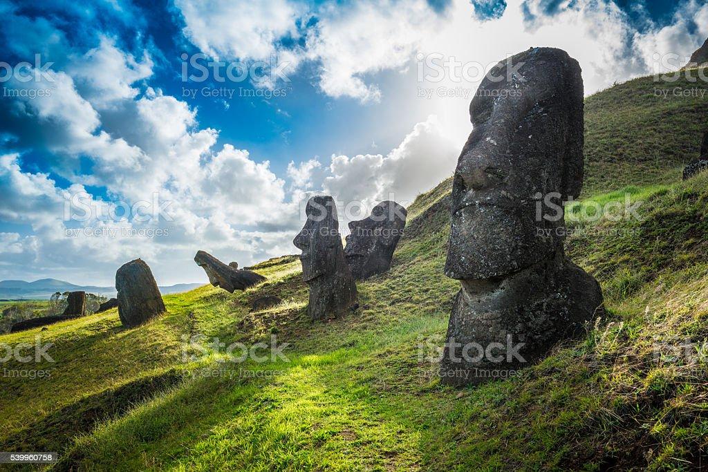 Easter Island - Rano Raraku - foto de acervo
