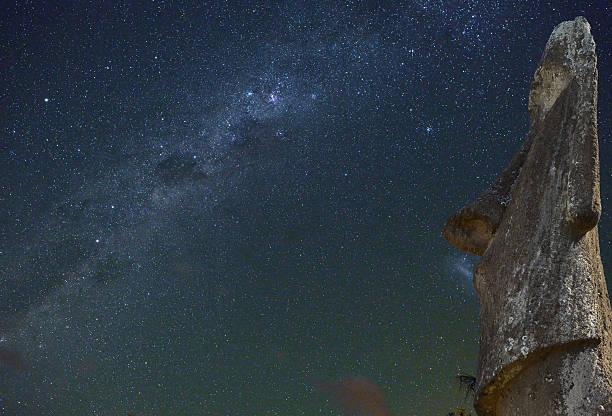easter island statue at night, chile - centaurus bildbanksfoton och bilder