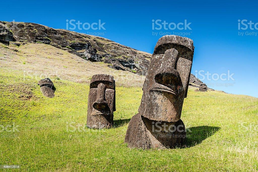 Easter Island Statues Rano Raraku Moais Rapa Nui stock photo