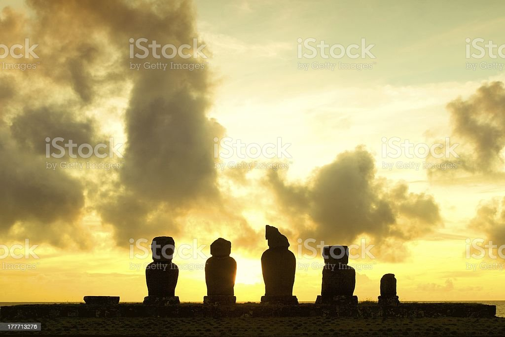 Easter Island Sunset With Copy Space royalty-free stock photo