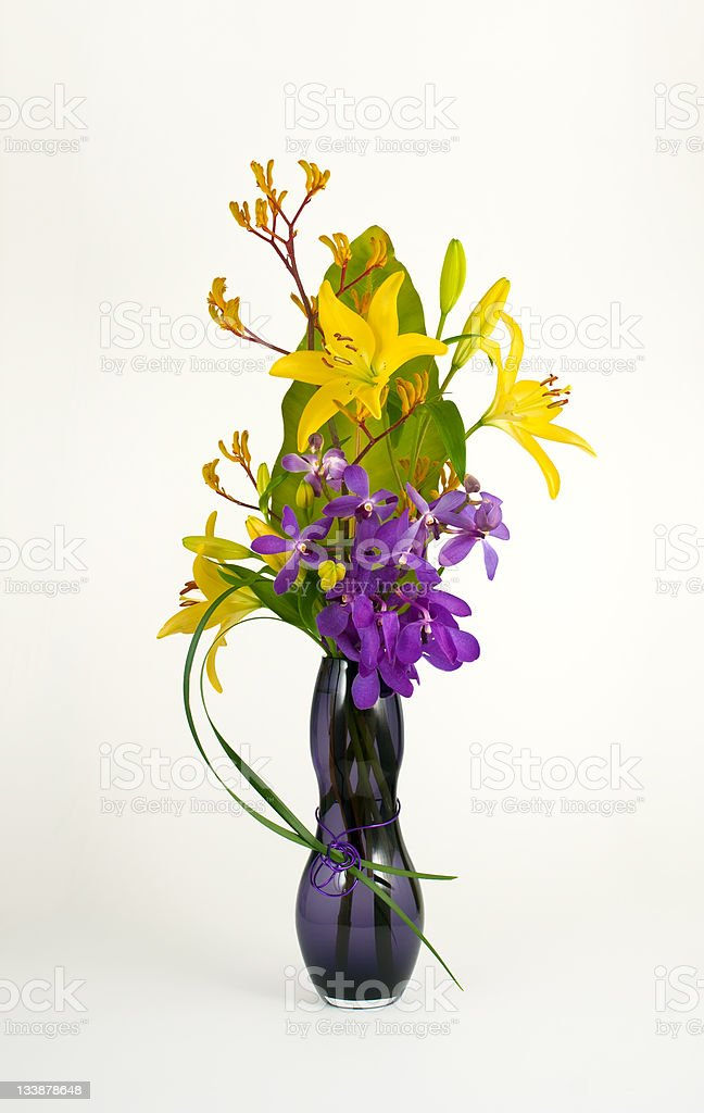 Easter Lily and Orchid Flower Arrangement royalty-free stock photo
