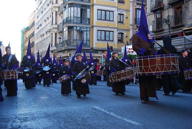 easter march in madrid, spain - easter procession spain bildbanksfoton och bilder