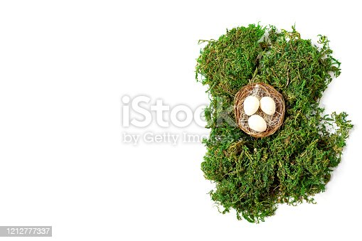930928526 istock photo easter minimal concept. composition of a nest with eggs and moss on a white background. space for a text, flat lay 1212777337