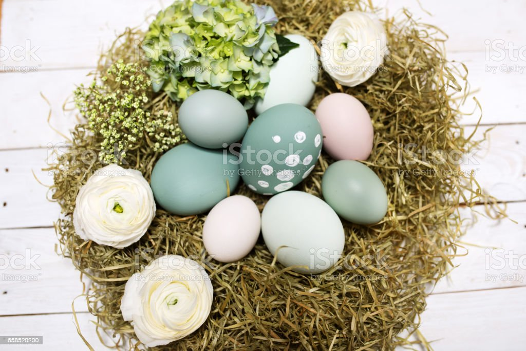 Easter nest in vintage style stock photo