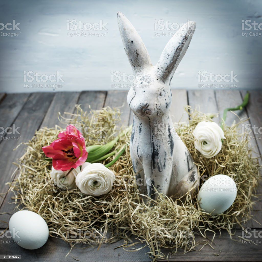 Easter nest with a bunny in shabby chic style stock photo
