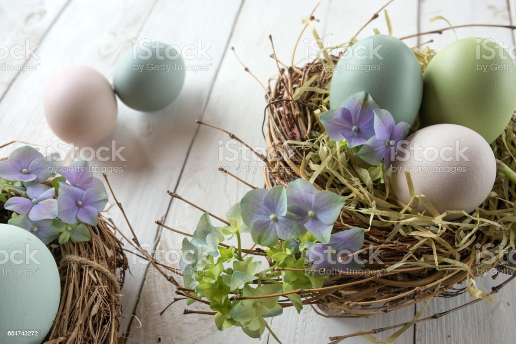 Easter nest with eggs and blossoms stock photo