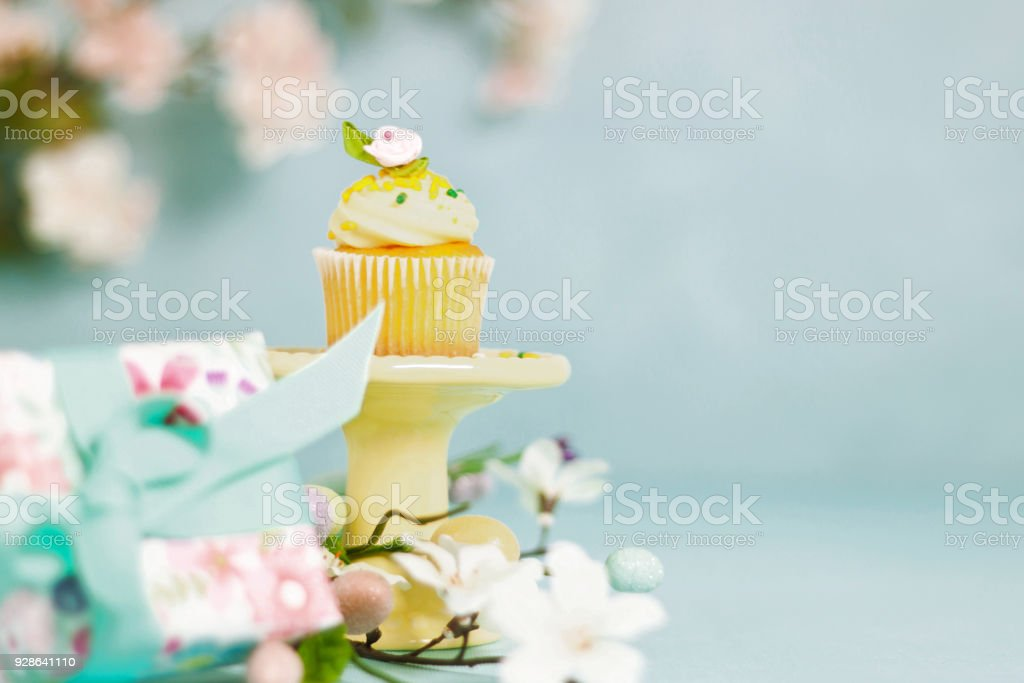Easter or celebration cupcake gifts decorations and floral display easter or celebration cupcake gifts decorations and floral display royalty free stock photo negle Image collections