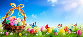 Easter Eggs In Basket On Grass With Sunny Sky Background