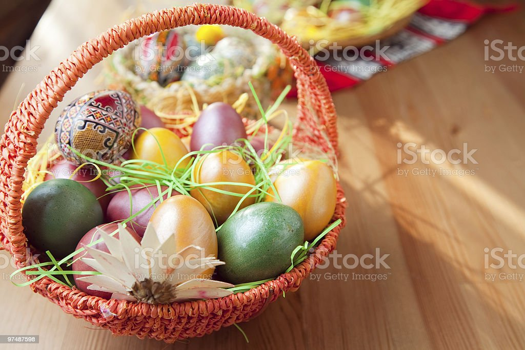Easter painted eggs in traditional basket royalty-free stock photo