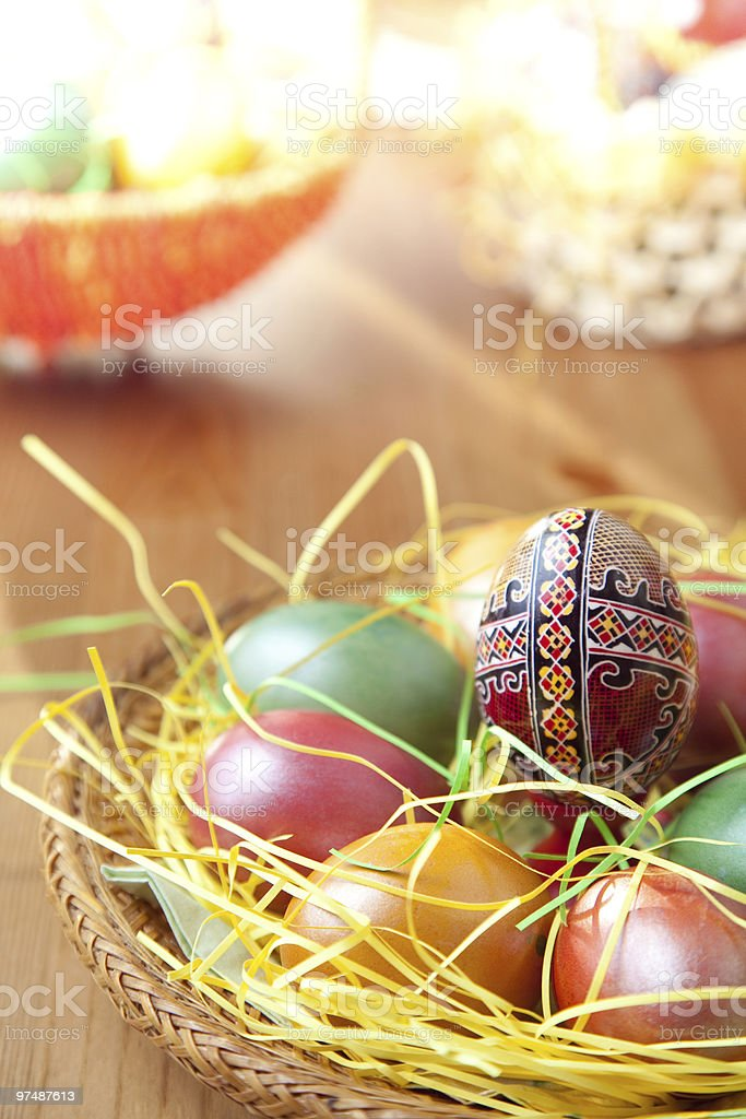 Easter painted eggs on traditional seasonal table royalty-free stock photo