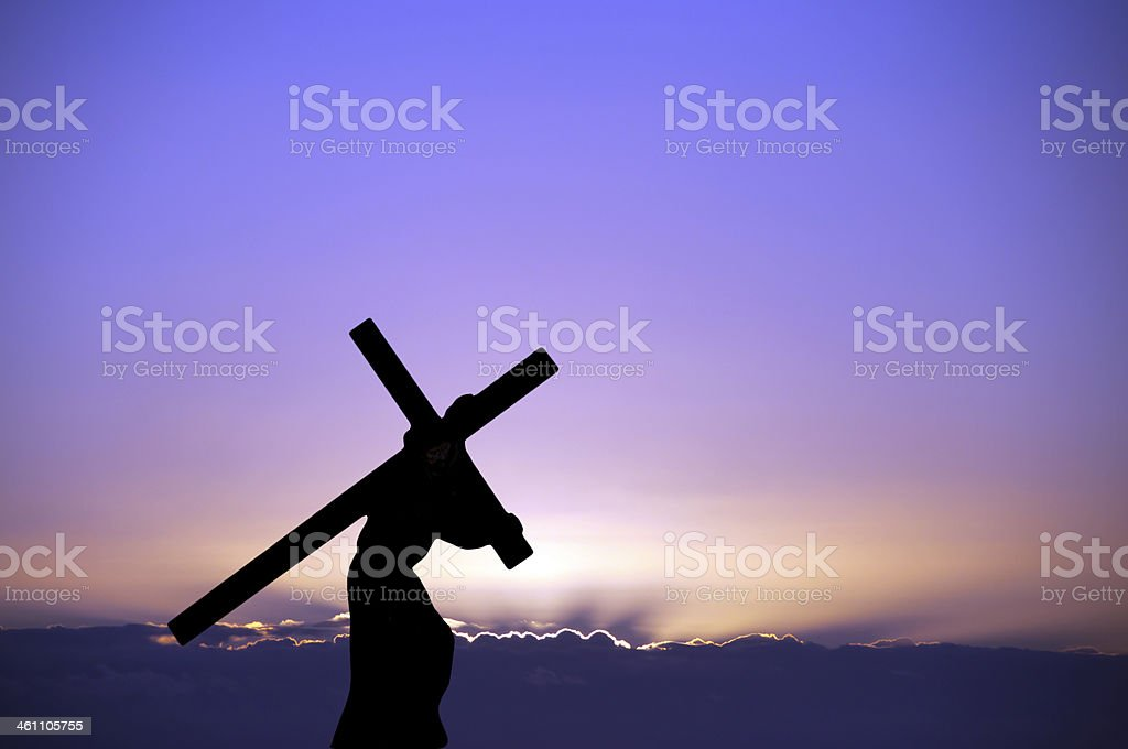 The figure of Christ carrying the cross up Calvary on Good Friday....