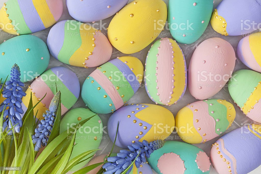 Easter pastel colored eggs royalty-free stock photo