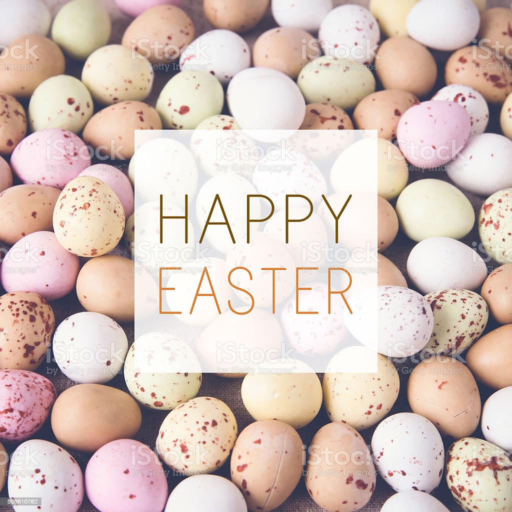 Easter pastel speckled eggs, selective focus background, toning stock photo