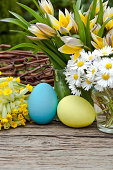 tulips, daisies, Cowslip, and easter eggs