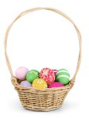 Easter Eggs in Basket Isolated