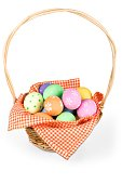 Basket with colorful eggs isolated on white background