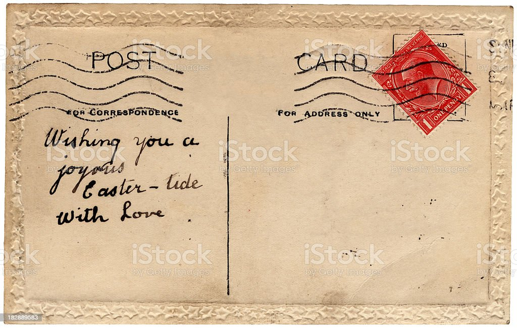 Easter postcard from Sunderland 1921 royalty-free stock photo