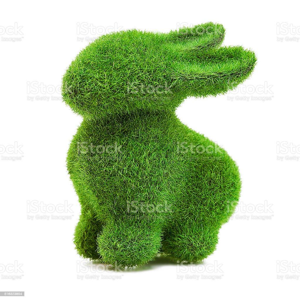 Silhouette de lapin de Pâques avec de l'herbe - Photo