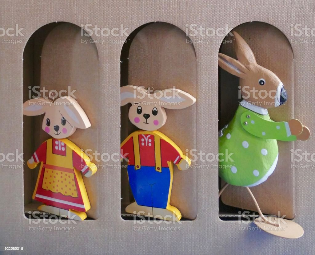 Easter rabbits family standing in a row stock photo