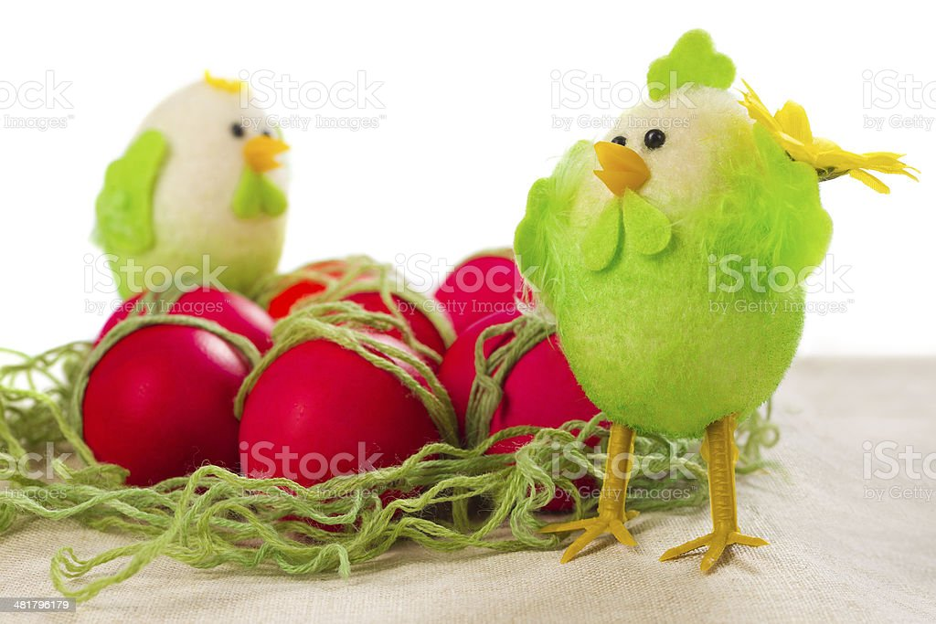 Easter red eggs stock photo