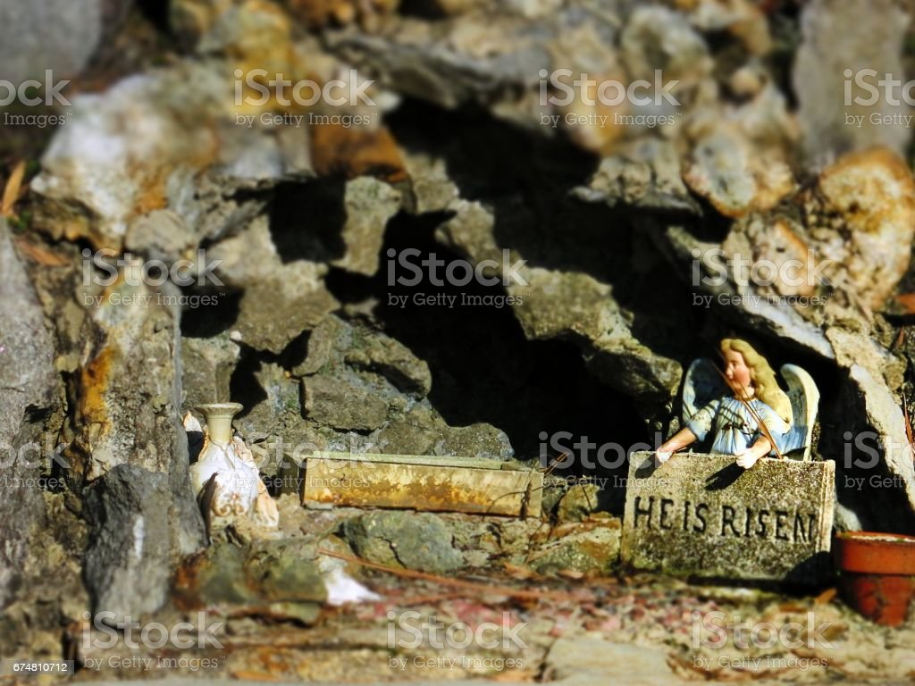 Easter Empty Tomb, Angel Holding He Is Risen Sign, Cave