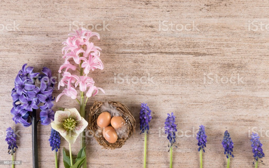 Easter retro background with hyacinth flowers in a row on light brown stone stock photo