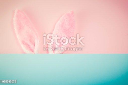 istock Easter scene with rabbit ears 935395072