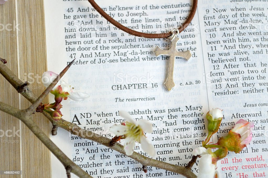 Easter scripture and cross with flowers stock photo