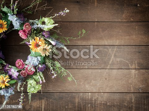 Easter spring flower wreath on an old wood background