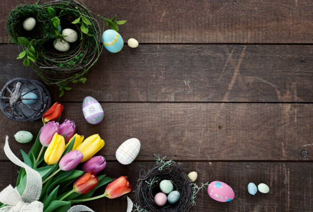 Easter Spring Tulips Frame Rustic Background stock photo