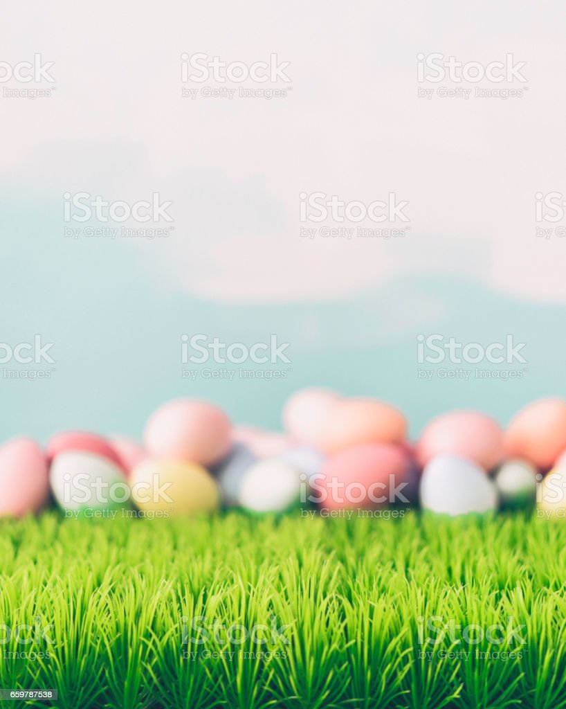 Easter still life background in pastel colors stock photo