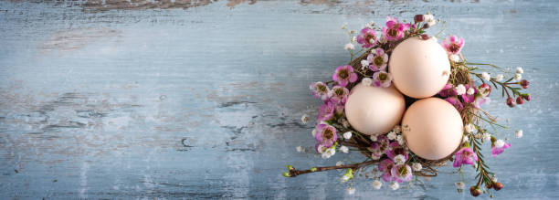 Easter still life on vintage planks stock photo