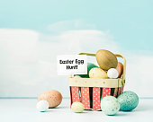 Easter still life with eggs in pastel colors. Easter egg hunt