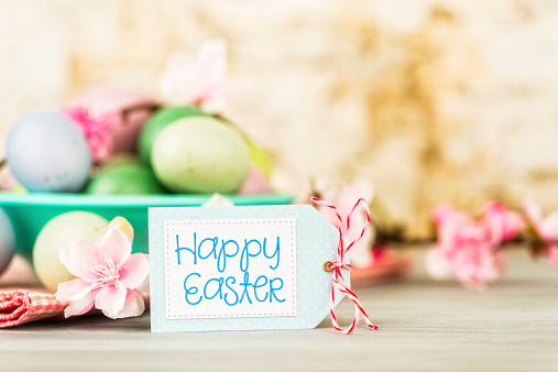Easter still life with Happy Easter message