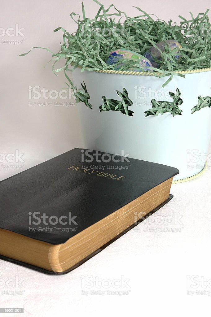 Easter Still Life with Holy Bible royalty free stockfoto