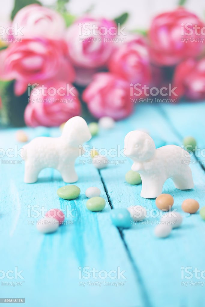 Easter still life with sheep Lizenzfreies stock-foto