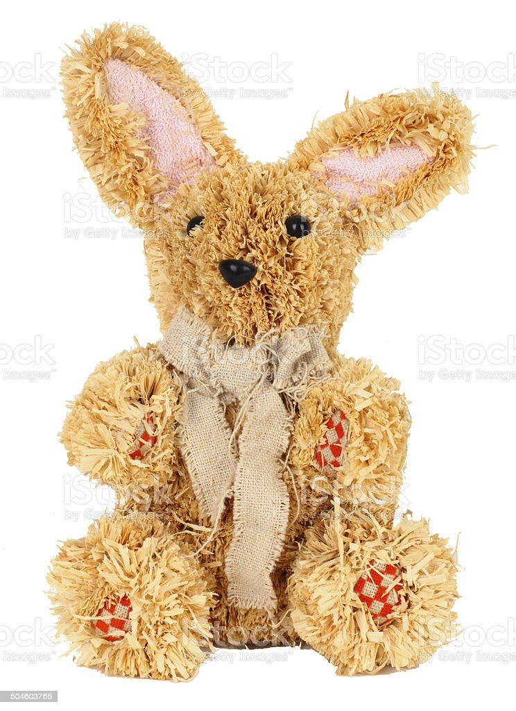 Easter straw rabbit stock photo