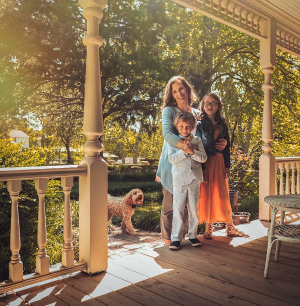 Easter Sunday Morning At Home On The Porch. stock photo