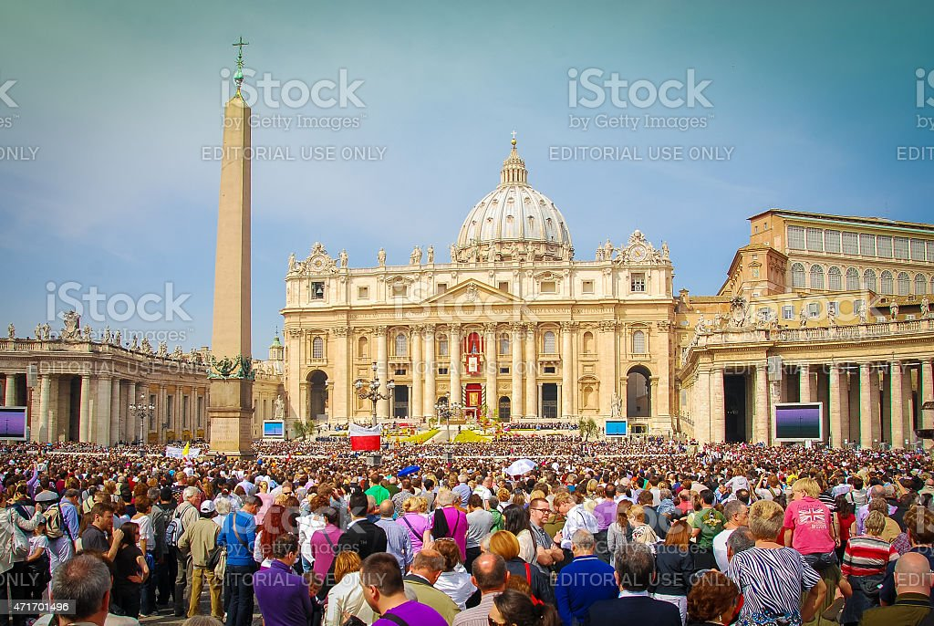 Easter Sunday - Rome, Italy Rome, Italy - April 24, 2011: Crowds gather outside St. Peter's Basillica in Rome to hear the Pope speak on Easter Sunday. 2015 Stock Photo