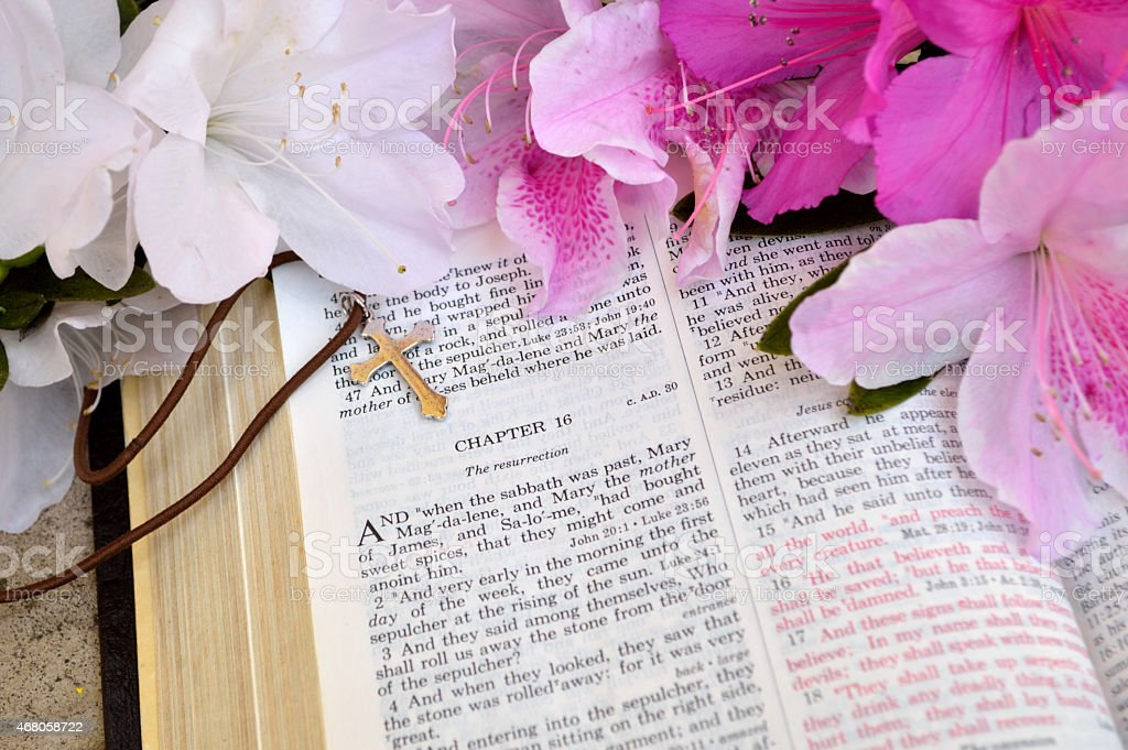 Easter Sunday with pink flowers stock photo