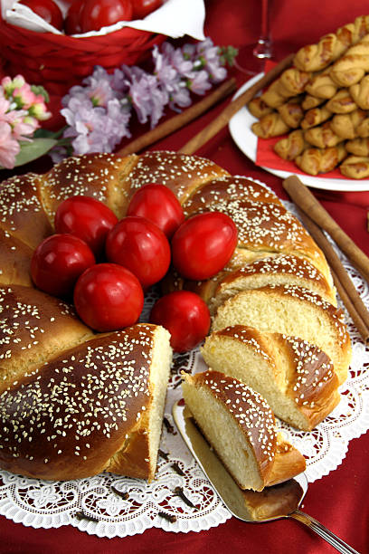 easter sweet bread - greek easter stock photos and pictures