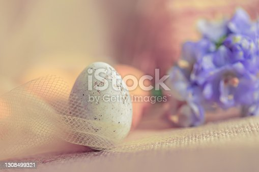 Easter sweet white egg in a transparent yellow cloth. Blurred background with purple flowers. Shallow depth of field. Toned image. Close-up. Copy space