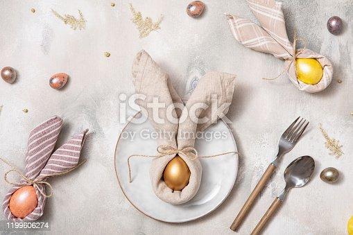 Easter table. Festive background. Family dinner.