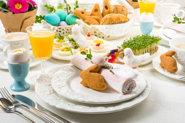 easter table - easter brunch stock photos and pictures