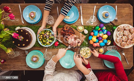 Overhead view on decorated Easter table with family around
