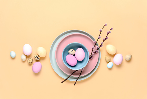 Easter table setting, minimalistic home decor concept, flat lay composition